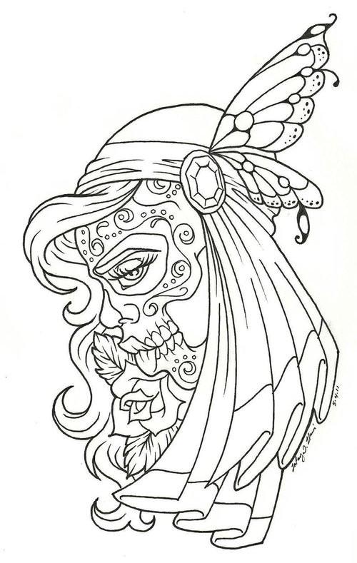 Coloriage et dessins gratuits Tatouage Fille à colorier à imprimer