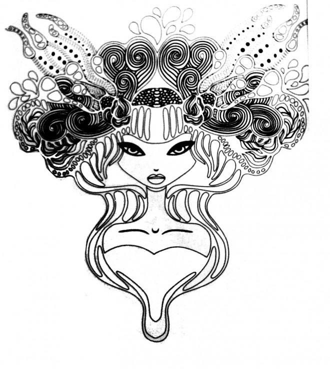 Coloriage et dessins gratuits Tatouage Fille magique à imprimer