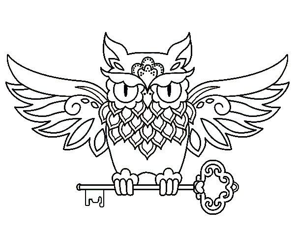 Coloriage et dessins gratuits Tatouage Hibou à imprimer