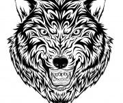 Coloriage Tatouage Loup