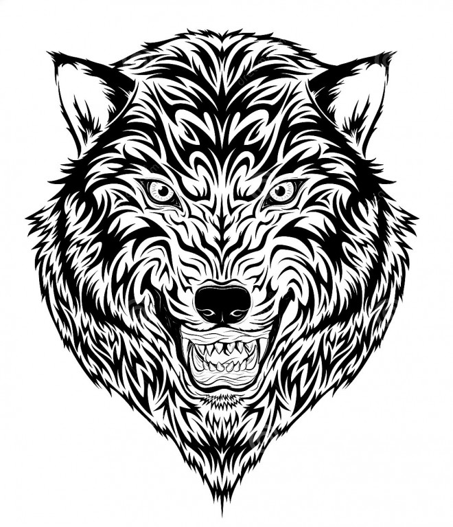 coloriage tatouage loup dessin gratuit imprimer. Black Bedroom Furniture Sets. Home Design Ideas