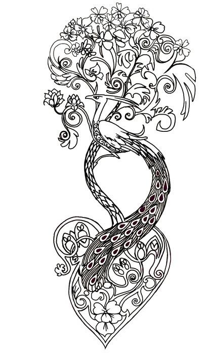 Coloriage et dessins gratuits Tatouage Paon à imprimer