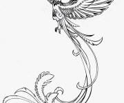 Coloriage Tatouage Phoenix