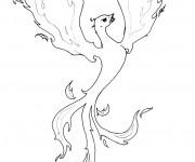 Coloriage Tatouage Phoenix en feu