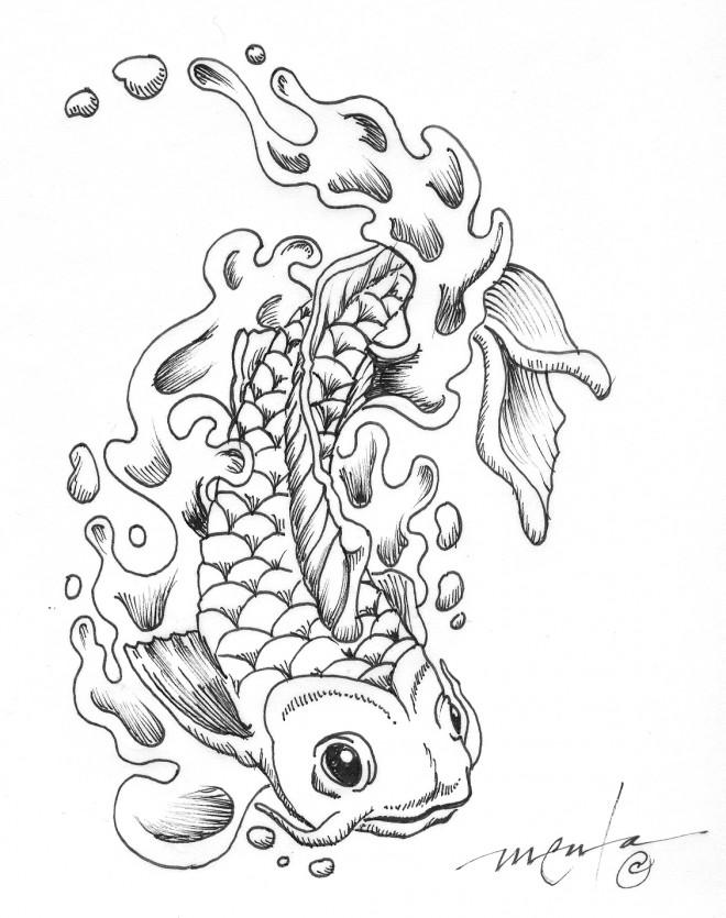 Coloriage et dessins gratuits Tatouage Poisson adorable à imprimer