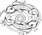 Coloriage Tatouage Poissons dans L'eau