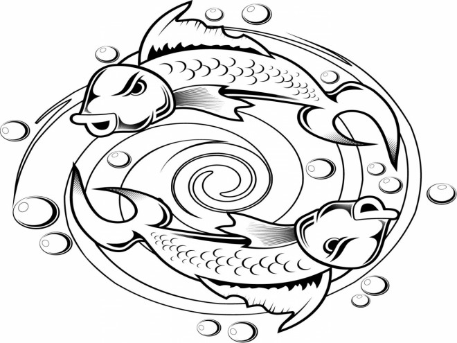 Coloriage et dessins gratuits Tatouage Poissons dans L'eau à imprimer