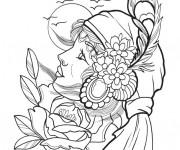 Coloriage Tatouage Portrait
