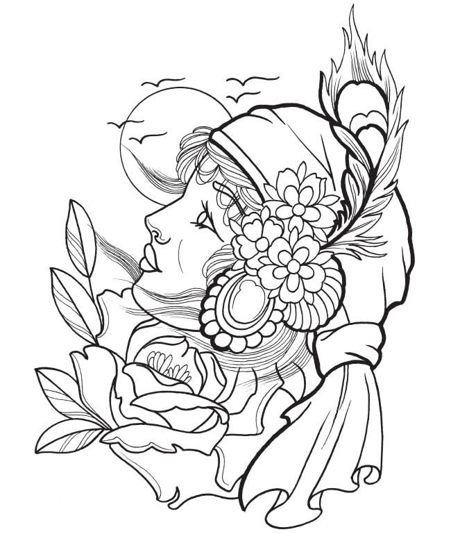Coloriage et dessins gratuits Tatouage Portrait à imprimer