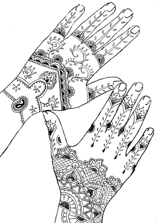 Coloriage et dessins gratuits Tatouage sur Mains à imprimer