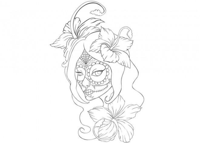 Coloriage Tatouage Tete De Femme Dessin Gratuit A Imprimer