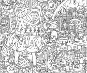 Coloriage et dessins gratuit Adulte mandala calmant mais, complexe à imprimer