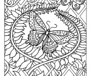 Coloriage Adulte Papillon difficile