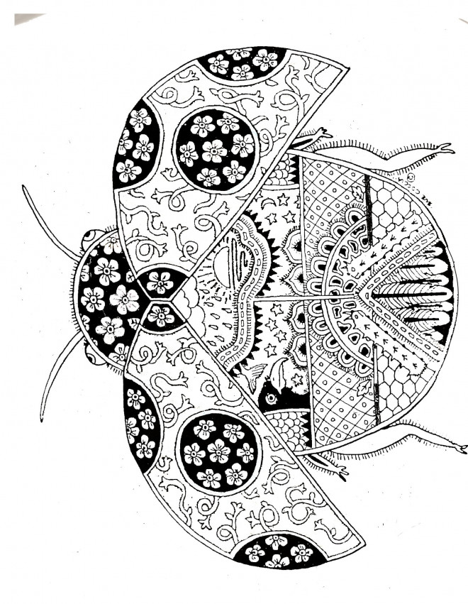 Coloriage Art relaxant Coccinelle dessin gratuit à imprimer