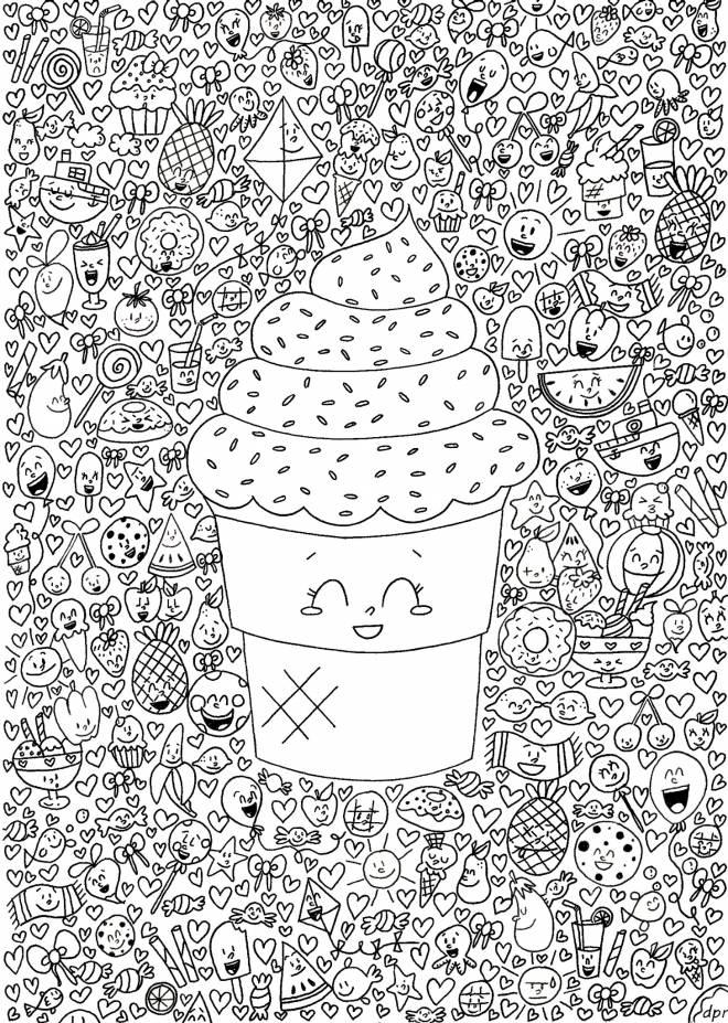 Coloriage et dessins gratuits Art Thérapie fruits et crème glacée à imprimer
