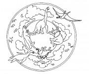 Coloriage et dessins gratuit Mandala Dinosaures à imprimer