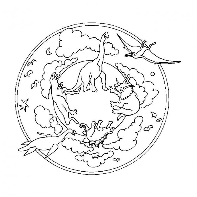 Coloriage et dessins gratuits Mandala Dinosaures à imprimer