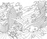 Coloriage Tableau Art Thérapie de Poissons