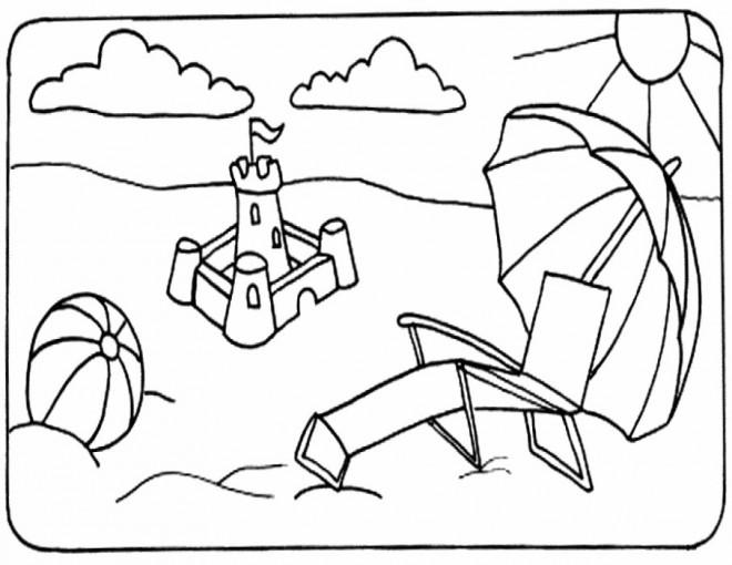 Coloriage et dessins gratuits Ballon sur la Plage à imprimer