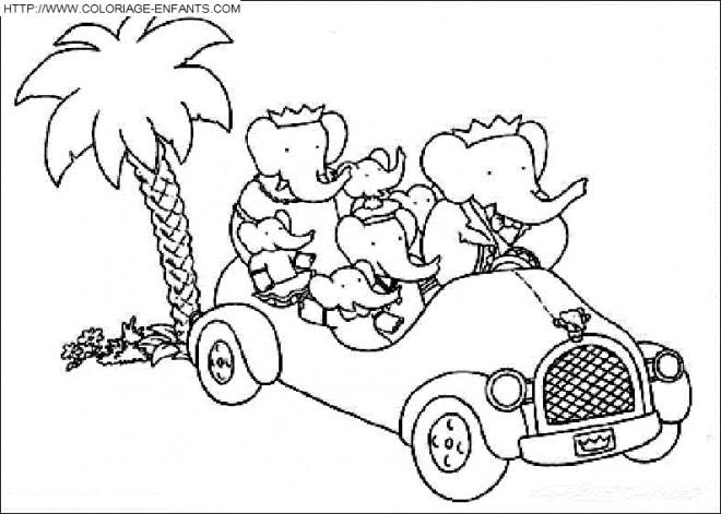 Coloriage et dessins gratuits Famille d'éléphant en Vacances à imprimer