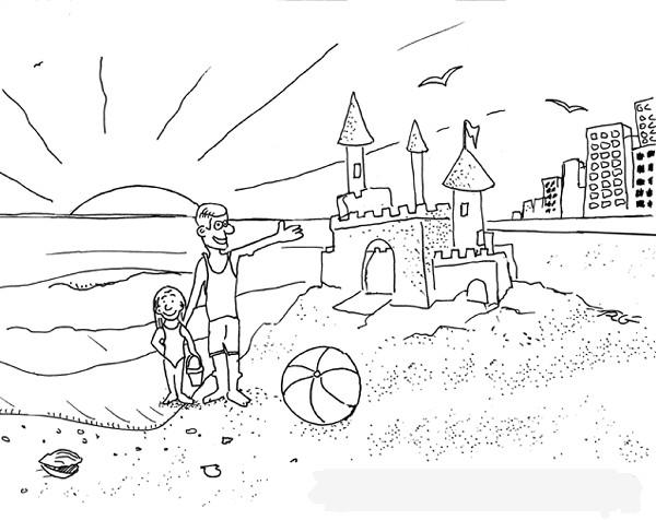 Coloriage et dessins gratuits Fille construit son château de Sable à imprimer