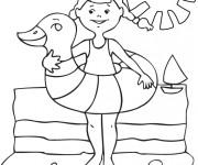 Coloriage Fille en Vacances d'Été