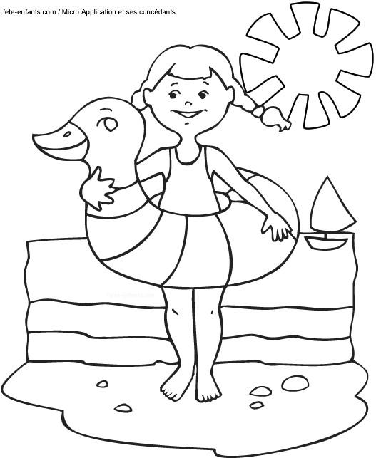 Coloriage fille en vacances d 39 t dessin gratuit imprimer - Coloriage d ete ...