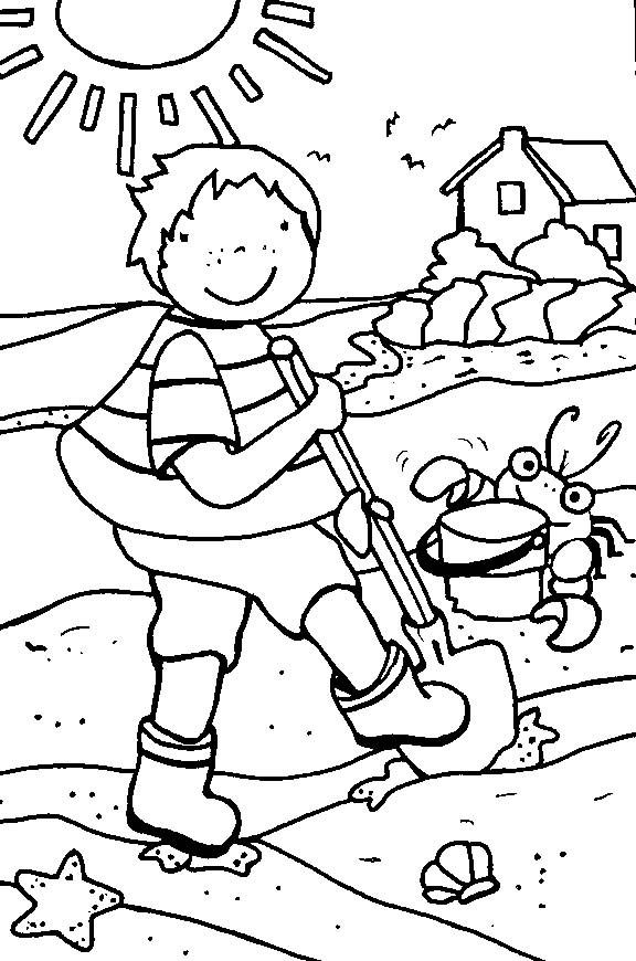 Coloriage et dessins gratuits L'enfant s'amuse  pendant Les Vacances à imprimer