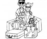Coloriage La Famille en Vacances
