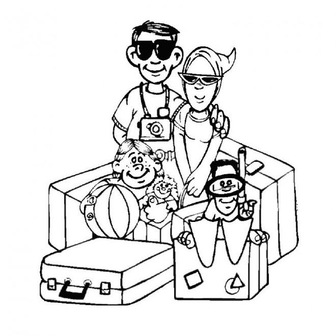 Coloriage et dessins gratuits La Famille en Vacances à imprimer