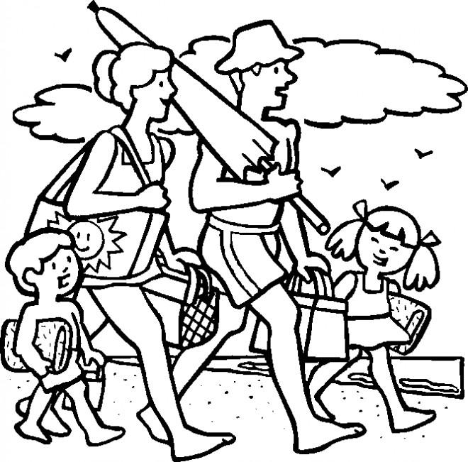 Coloriage et dessins gratuits La Famille se dirige vers La Mer à imprimer
