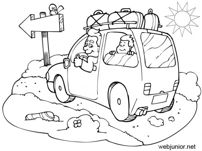 Coloriage et dessins gratuits La Famille sur La route des Vacances à imprimer