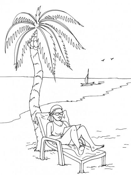 Coloriage et dessins gratuits La Relaxation en Vacance à imprimer