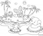 Coloriage et dessins gratuit Les Animaux sur La Plage à imprimer