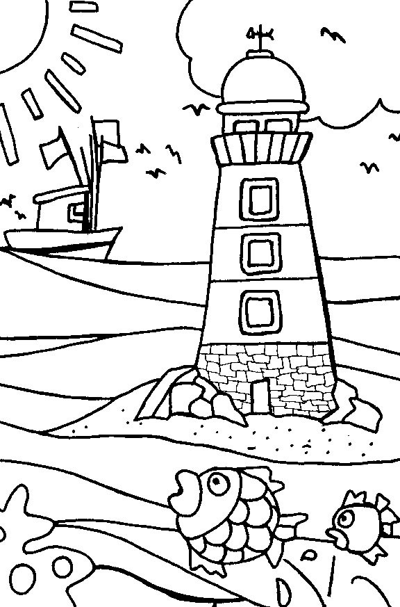 Coloriage et dessins gratuits Paysage de Vacances à imprimer