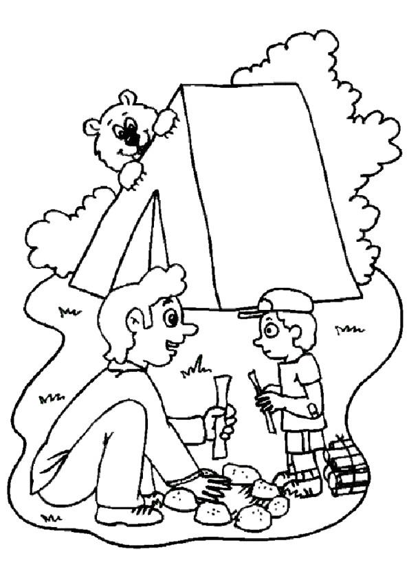 Coloriage et dessins gratuits Père et Fils  Camping à imprimer