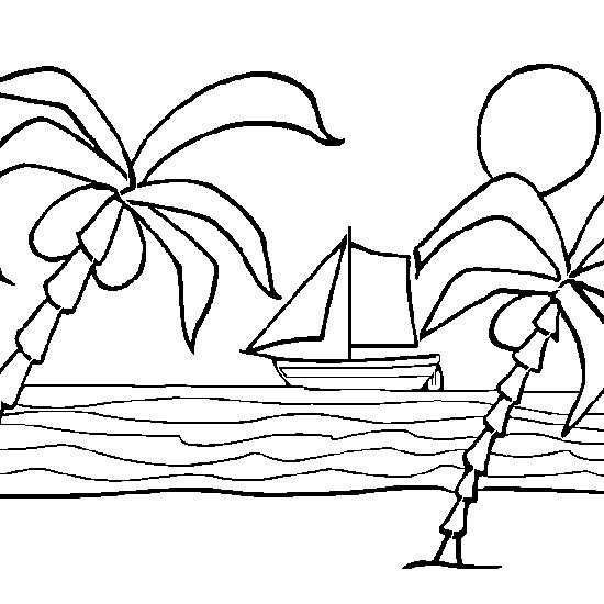 Coloriage et dessins gratuits Plage et bateau à imprimer
