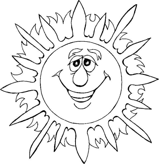 Coloriage et dessins gratuits Soleil d'Été drôle à imprimer