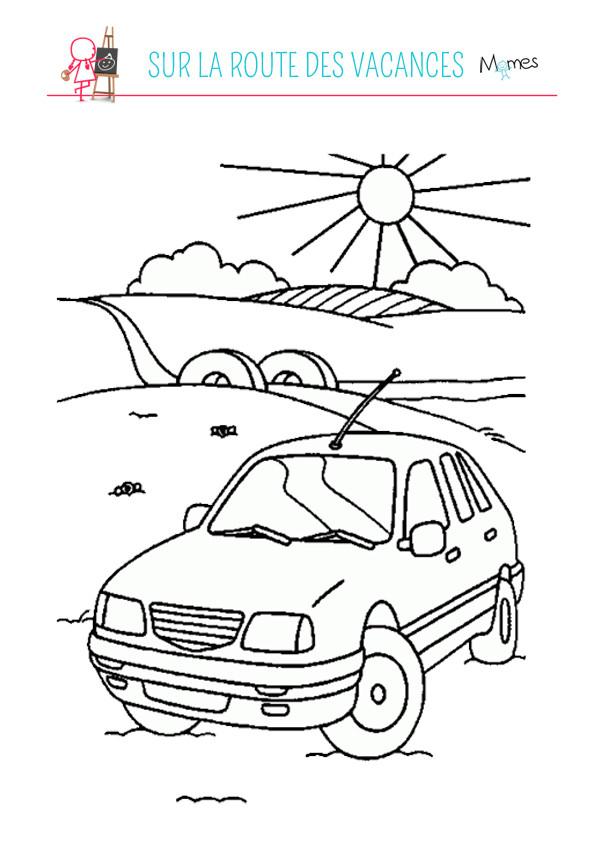 Coloriage et dessins gratuits Sur La Route Des Vacances à imprimer
