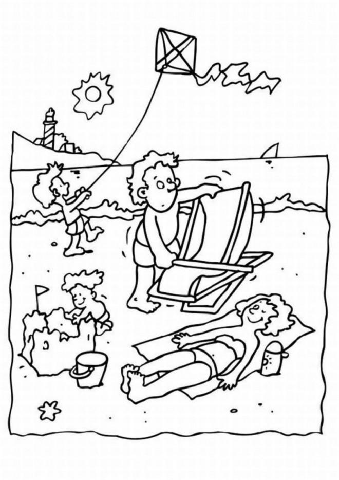 Coloriage Vacances Bronzage Sur La Plage Dessin Gratuit à