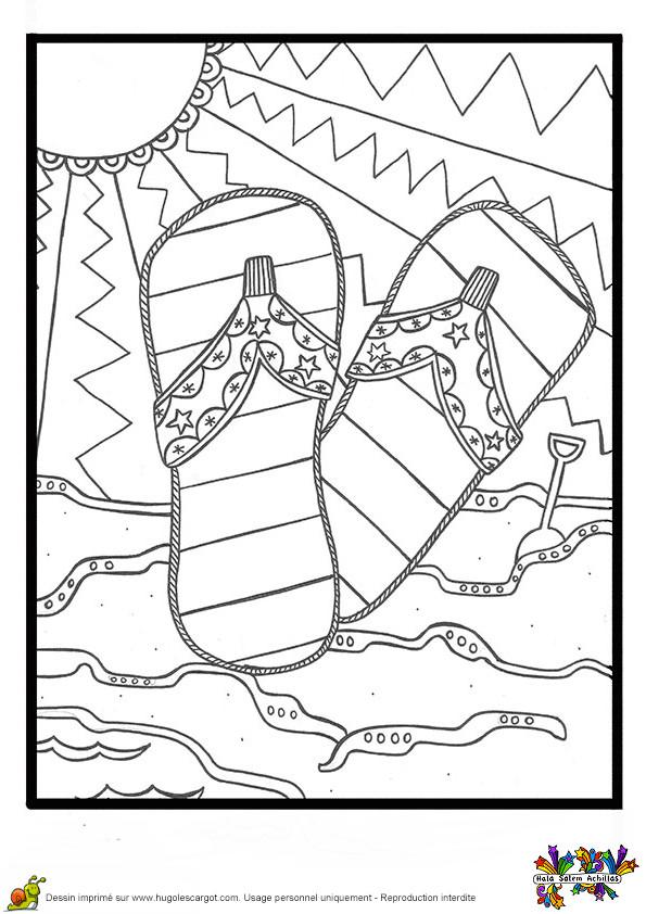 Coloriage Vacances et Les Rayons de Soleil dessin gratuit à imprimer