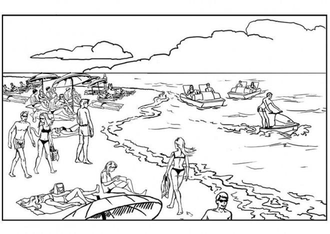 Coloriage et dessins gratuits Vacances Été Les Baigneurs à imprimer