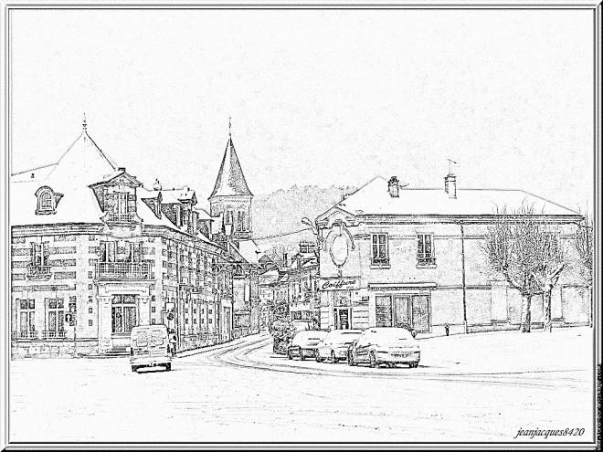 Coloriage et dessins gratuits Architecture de Maisons de Village à imprimer