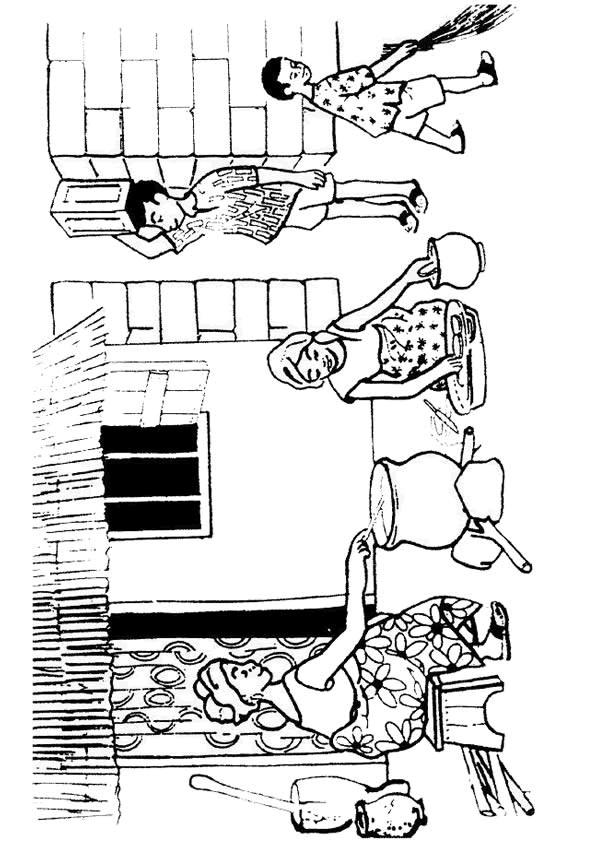 Coloriage et dessins gratuits Famille Africaine à imprimer