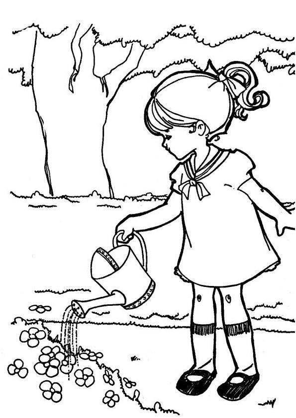 Coloriage et dessins gratuits Fille arrose les Fleurs à la Campagne à imprimer