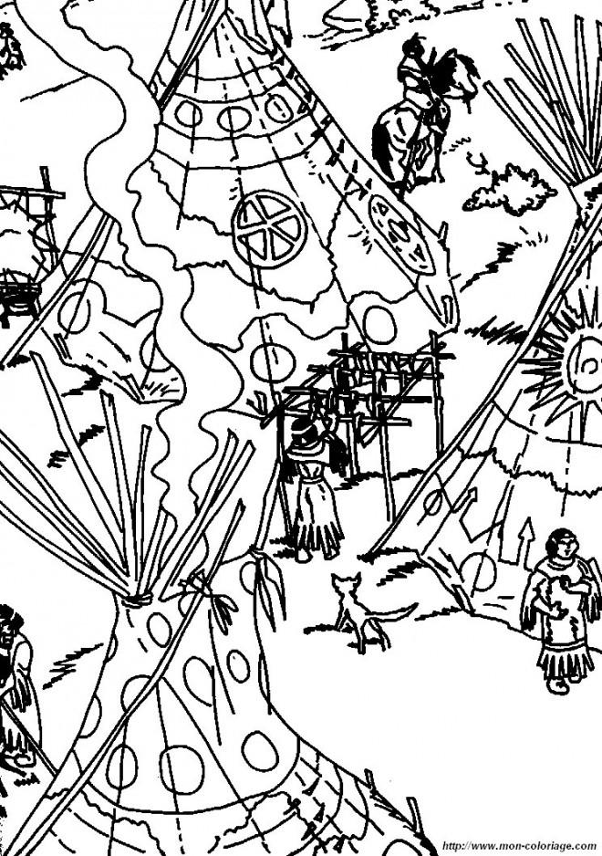 Coloriage et dessins gratuits La Vie au Village des Indiens à imprimer