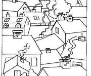 Coloriage Les Maisons de Village