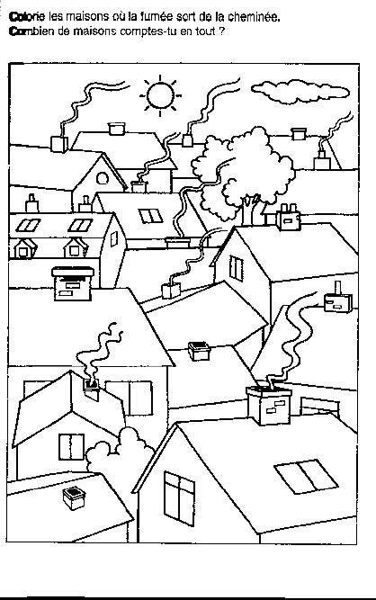 Coloriage Les Maisons De Village Dessin Gratuit à Imprimer