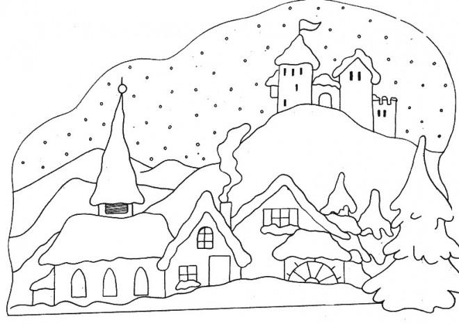 Coloriage et dessins gratuits Paysage de Village  en Hiver à imprimer