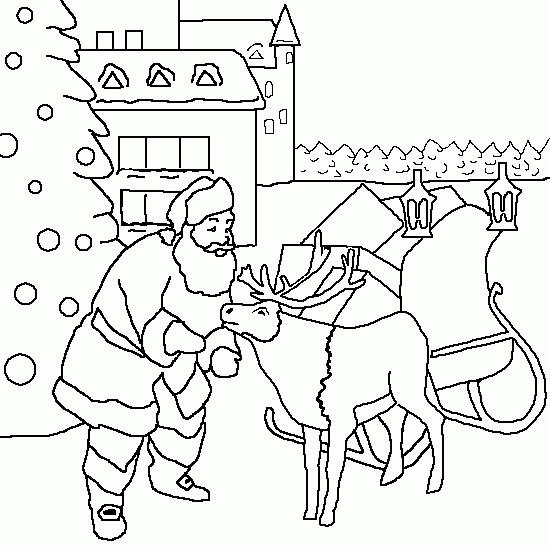 Coloriage et dessins gratuits Père Noël arrive au Village à imprimer